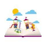 Beautiful children playground with books playing. Vector illustration design Stock Images
