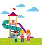 Beautiful children playground with kids playing Stock Images