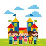 Beautiful children playground with kids playing. Vector illustration design Royalty Free Stock Images
