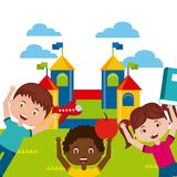 Beautiful children playground with kids playing. Vector illustration design Royalty Free Stock Photo