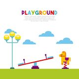 Beautiful children playground with kids playing. Vector illustration design Stock Photography