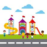 Beautiful children playground with kids playing Royalty Free Stock Photos