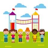 Beautiful children playground with kids playing Stock Photo