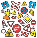 Beautiful children's illustration road signs Stock Image