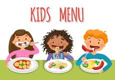Beautiful childrens Enjoying Healthy Lunch In Cafeteria vector illustration