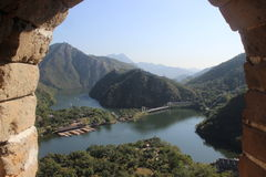 Beautiful China Great Wall Window Scene Stock Image