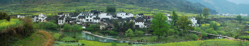 Beautiful China panoramic image. Spring, the beauty of villages in southern China,Super-resolution panoramic image Royalty Free Stock Images