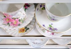 Beautiful chinaware on shelves of an antique shop - 4. Beautiful chinaware on shelves of an antique shop on Long Beach peninsula stock images