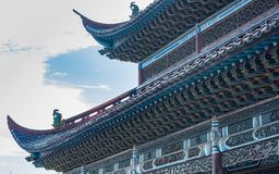 Beautiful Chinese ancient architechture in Hubei. The sun shine is very fine stock photography