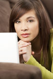 Beautiful Chinese Asian Woman With Laptop Computer Royalty Free Stock Images