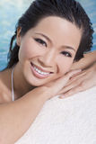 Beautiful Chinese Asian Woman In Swimming Pool Royalty Free Stock Photos