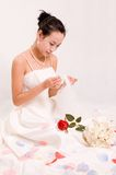 Beautiful Chinese bride. In her wedding dress Stock Photos