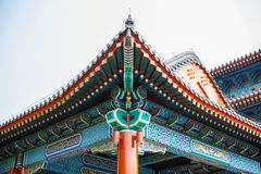 Beautiful Chinese colored roof with ornaments. Royalty Free Stock Photography