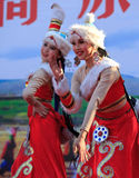 Beautiful chinese dancers stock photography