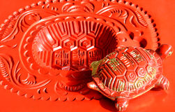 Beautiful Chinese decoration, lucky tortoise sculpture. Lucky tortoise statue in red color, as Chinese lucky decoration and long life meaning Stock Photography