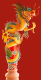 Beautiful Chinese dragons. Two Beautiful Chinese dragons on red background Royalty Free Stock Images