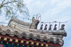 Beautiful Chinese eaves with dragon and other symbolic tile sculptures Royalty Free Stock Images