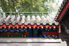 Beautiful Chinese eaves with symbolic tile sculptures Royalty Free Stock Images