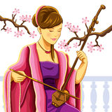 Beautiful Chinese Erhu Player Royalty Free Stock Photography