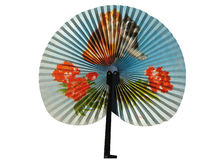 A beautiful Chinese fan. On a white background Stock Photos