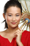 Beautiful chinese girl with traditional homemade umbrella. On white Stock Photo