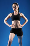 Beautiful Chinese girl warm up fitness exercise Royalty Free Stock Image