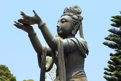 Beautiful Chinese goddess statue in Lantau Royalty Free Stock Images