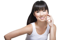 Beautiful Chinese lady with smooth complexion. Beautiful, young Chinese lady with long silky hair and smooth skin complexion. Great for beauty, cosmetics, makeup Stock Images