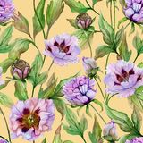 Beautiful Chinese peony with green leaves on beige background. Seamless floral pattern. Watercolor painting. Hand drawn and painted illustration. Fabric vector illustration