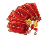 Chinese red packet with gold coins Royalty Free Stock Photo