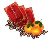 Chinese red packet,mandarins and melon seeds Stock Photos