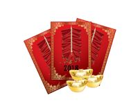 Chinese red packet with firecrackers Royalty Free Stock Images