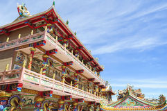 The beautiful Chinese shrine and the blue sky Stock Photo