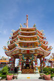 The beautiful Chinese shrine and the blue sky in Chonburi.East o royalty free stock images