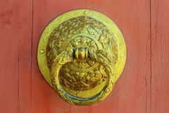 Beautiful Chinese Style Brass Door Knocker stock photography