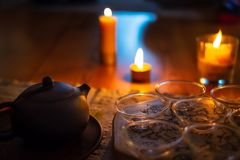 Free Beautiful Chinese Tea Ceremony With Candle Flame Decoration Royalty Free Stock Photos - 164963288