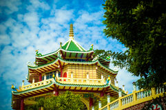 Beautiful chinese temple on blue sky.  Stock Photo