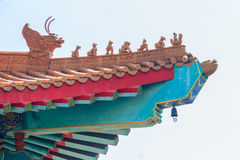 Beautiful Chinese temple roof detail with colorful architectural Royalty Free Stock Photography