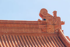 Beautiful Chinese temple roof detail with colorful architectural Royalty Free Stock Image