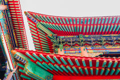 Beautiful Chinese temple roof detail with colorful architectural Stock Image