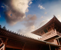 Beautiful Chinese temple structure with blue sky Royalty Free Stock Photography