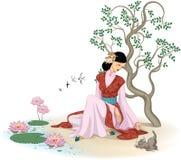 Beautiful Chinese woman with kitten vector illustration