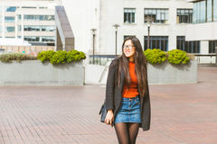 Beautiful Chinese woman walking in London Royalty Free Stock Images
