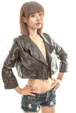 Beautiful Chinese woman wearing leather jacket Royalty Free Stock Photos