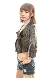 Beautiful Chinese woman wearing leather jacket Royalty Free Stock Images