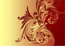 Beautiful chocolate background. Chocolate background. red and gold. flowers.  illustration Stock Photo