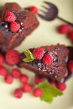 Beautiful chocolate cake with fresh berry Royalty Free Stock Images