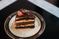 Beautiful chocolate cake with fresh berry Royalty Free Stock Photography
