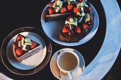 Beautiful chocolate cake with fresh berry Stock Photo