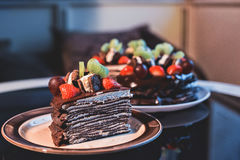 Beautiful chocolate cake with fresh berry Stock Images
